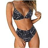 Bikinis Mujer Push Up Halter Bikini Traje de baño Conjunto de Bikini de Play Acolchado Bra Tops y Braguitas Dos Piezas,Cintura Alta Traje de baño Trajes de baño Halter Ropa