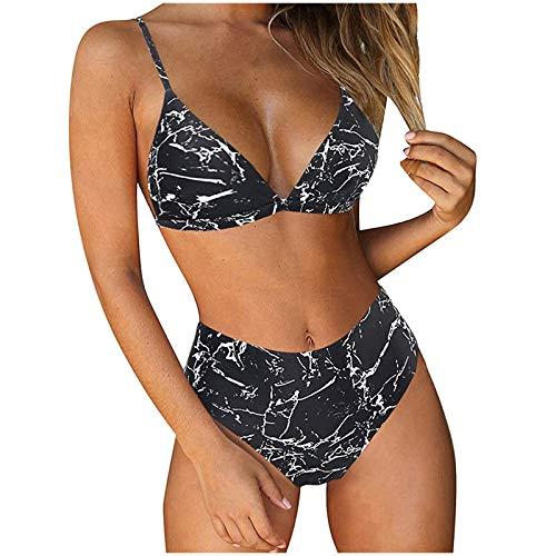 ZGNB Tankini GroßE GrößEn Damen Badeanzug 2-Teilig Tankini Top E Cup Bikini Bustier Damen Bikini Zum Binden Bikini Oberteil Damen Bikinislip Schwarz#01 Blau