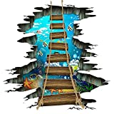 Sea World Floor Stickers 3D Underwater Ocean Colorful Fishes Wall Sticker Wooden Suspension Bridge PVC Art Wall Decal for Bathroom Living Room Nursery Bedroom Playroom