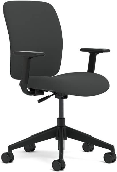 Steelcase 千斤顶任务椅旋转倾斜机构由 Turnstone 织物黑色 Buzz2 臂完全可调