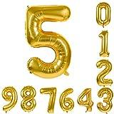 BLATOMY 0-9 数字 誕生日 バルーン アルミハンギングホイルバルーン デジタル パーティー風船 に適用す る結婚式の誕生日婚約記念日 ゴールド 約93cm  ゴールド-5