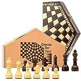Scacchiera in Legno professionale Scacchi Tre giocatori - chess, Scacchiere Set portatile gioco da viaggio per Adulti Bambini 28X33 cm