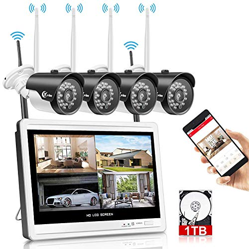 XVIM 12' Monitor Wireless Security Camera System with 1TB Hard Drive for Home, 4pcs 2.0MP Outdoor Waterproof IP Cameras, 4 Channel HD 1080P WiFi Video...
