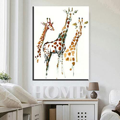 Deer und Elefant Familienporträt Aquarell Malerei abstrakte Wandkunst Tier Leinwanddrucke Familienkunst rahmenlose dekorative Malerei A27 40x60cm