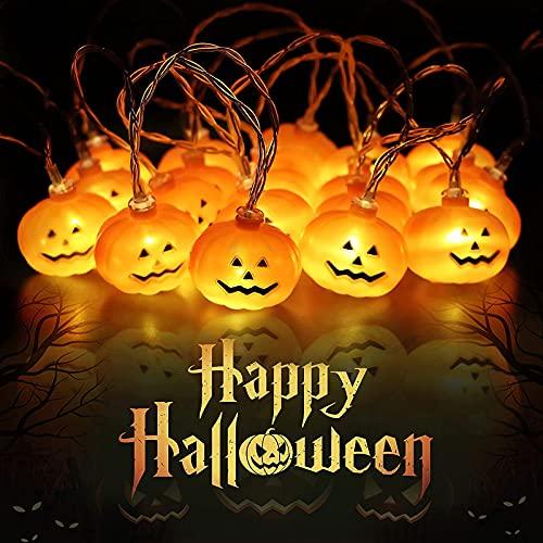 Halloween Decorazioni Lanterna Zucca Stringa, 3M/20 LED Luci di Zucca di Halloween Luci...