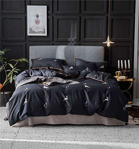 MEVIDA Solid Color Egyptian Cotton Duvet Cover Bedding Set High Thread Count Long Staple Sateen Weave Silky Soft Breathable Quality Bed Linen G Queen