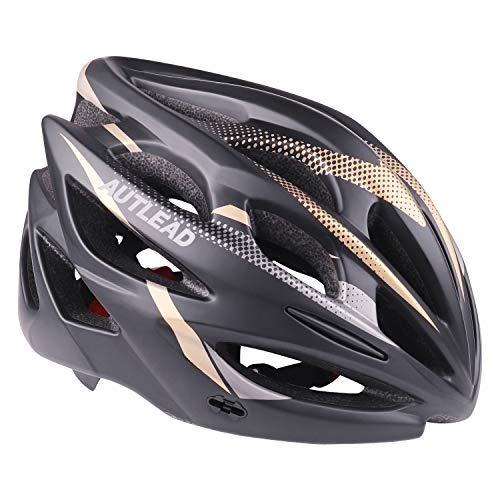 AUTLEAD Casco para Bicicleta con Luz LED, Casco Ajustable Certificado CE, Casco para Bicicleta de Carretera con Visera Desmontable para Hombres y Mujeres Super Light Adult (MV50)