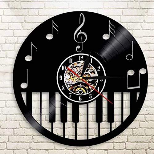 WTTA Reloj de Pared de Vinilo partitura Musical Piano Reloj de Pared de Vinilo decoración de Pared de Dormitorio única Regalo Creativo para Padres, Amigos, Amantes y niños de 30 cm de diámetro