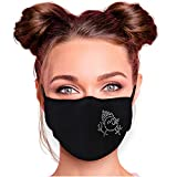 Alsino Mundschutz Strass Schwarz Damen Baumwolle Alltagsmaske Mundschutzmaske Stoffmaske mit Glitzersteinchen verstellbar Herren Damen Verschiedene Motive (Schneemann)