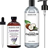 Lavender Essential Oil and Fractionated Coconut Oil Bundle by Majestic Pure - Great Combo Pack for Aromatherapy, Massage and Topical Uses