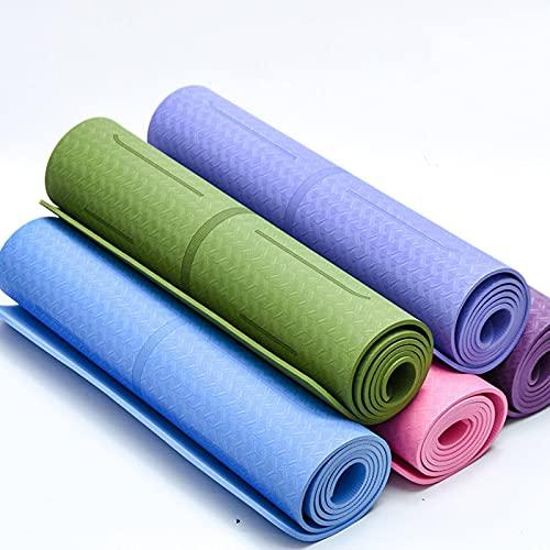 N\C Colchoneta de Yoga TPE con línea de Postura de un Solo Color y Dos Colores, Que Absorbe el Sudor, se ensancha y engrosa 6/8 mm Alfombrilla Deportiva Antideslizante Alfombrilla de Pilates