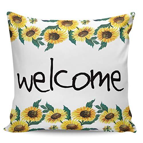 Winter Rangers - Federa decorativa per cuscino con girasole di benvenuto in stile retrò, ultra morbida, per divano e camera da letto, 40,6 x 40,6 cm