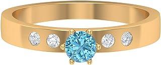 Anillo solitario de aguamarina de 4 mm, anillo de diamante HI-SI, anillo de compromiso de oro simple, anillo de ajuste fra...