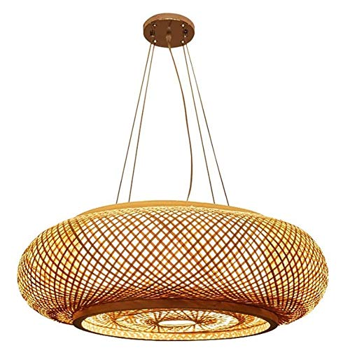 HSLJ1 Sencilla mediterránea colgar lámpara china de madera sólida de la lámpara del restaurante Estudio Cafetería Tea Cottage iluminación de la decoración de tejido a mano de bambú colgante Lámparas D
