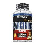 Weider L-Arginina Pura. Desarrollo de masa muscular libre de grasa. Favorece la recuperación post-entreno (100 Cápsulas - 1 g de L-Arginina por cápsula.)