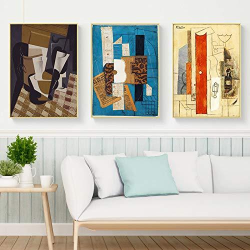 Carteles e impresiones abstractos de violín y guitarra Café Bar Arte de la pared Pintura en lienzo Picasso Cubismo Cuadros de la pared para la decoración del hogar 50x70cm-3Pcs Sin marco