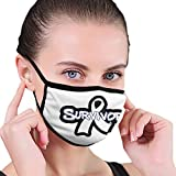Cancer du poumon Masque de sensibilisation au cancer du poumon avec 2 bandanas à filtre à charbon réutilisable, lavable et réglable pour homme et femme