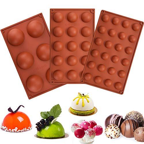 RMENOOR Backform Halbkugel 3 Stück Rund Silikonform Pralinenform Kugel Flexible Schokoladenform Silikon Tafel Bakeware Set für Kuchen Gelee Pudding Süßigkeiten Schokolade