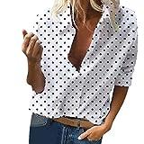 Tops y Blusas Mujer Ropa Camisa con Estampado de Lunares de Verano Top Low Cut Sexy 2019 Moda Casual Tops Temperamento Glamour para Mujer Mujer Regreso a Clases Temporada