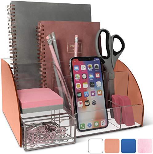 Rose Gold Desk Organizer Office, Acrylic, 9 Compartments, Office Supplies Desk Accessories Organizer with Drawer, Pen Holder, Office Decor Desktop Organization (Rose Gold)