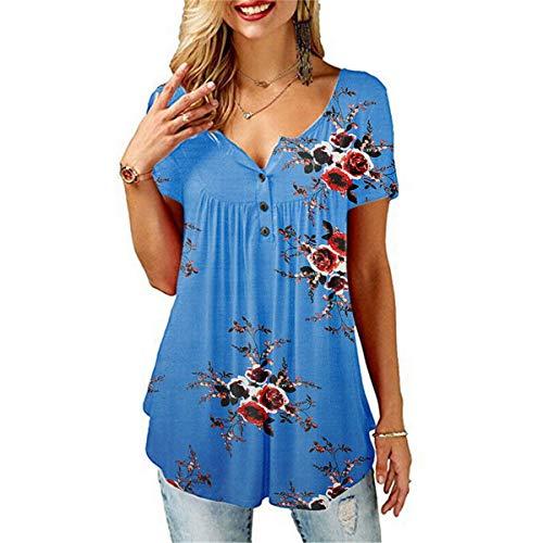 CHOSERL Camisas de verano para mujer con volantes, sueltas y botoneras para mujer