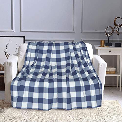 KCOUU Couverture polaire 127 × 152 cm Bleu foncé et blanc Vichy Plaid confortable doux chaud Couverture décorative pour canapé, lit, canapé, voyage, maison, bureau, toutes saisons