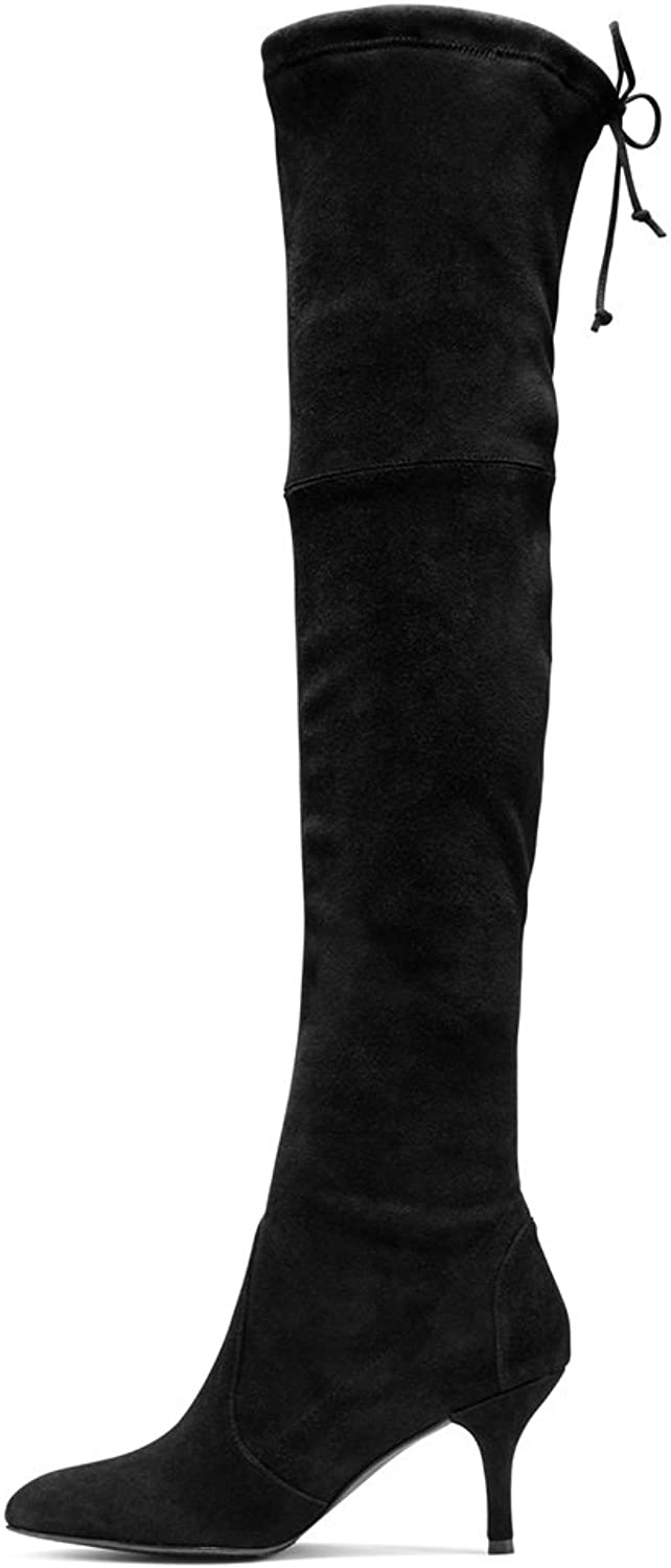 Kmeioo Long Thigh Boots, Women's Stiletto Mid Heels Over The Knee Boots Pointed Toe Lace Up Stretchy Thigh High Boots