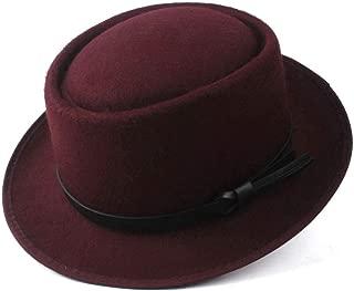 2019 Mens Womens Hats Unisex Men Women Flat Top Hat Autumn Fashion Pop Travel Hat with Pork Pie Hat Lady Church Wool Felt Hat Church Fascinator Trilby Hat Size 56-58CM