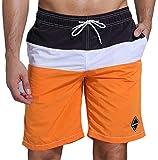 SHEKINI Hombre Pantalones de Playa Pantalones con Costuras de Color Pantalones Cortos Pantalones de Playa (30, Naranja)