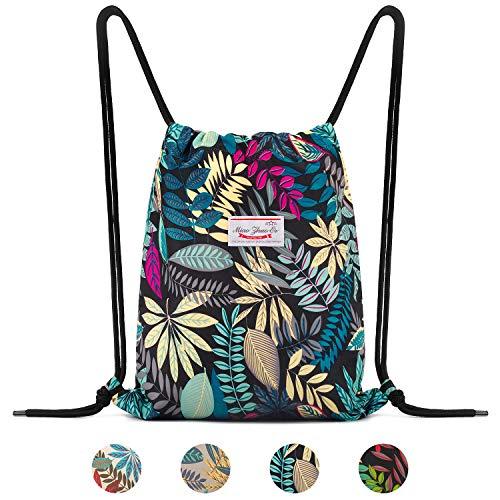 Drawstring Backpack String Bag Sackpack Cinch Water Resistant Nylon for Gym Shopping Sport Yoga by WANDF (Blue Leaf 6035)