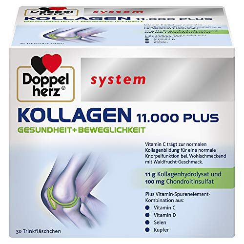 Doppelherz system KOLLAGEN 11.000 PLUS – Mit Nährstoffen, die zur Gesundheit des Bewegungsapparates und zum Zellschutz beitragen – 30 Trinkfläschchen