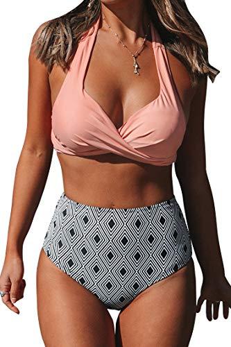CUPSHE Licol Torsadé avec Un Bas Taille Haute Imprimé Géométrique Bikini