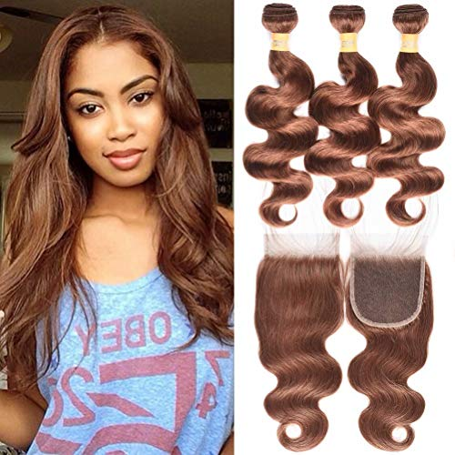 WOME Brazilian Remy Hair 3 Bundles Body Wave Hair Weaves With 4x4 Lace Frontal Closure Color #30 Light Auburn Human Hair Bundles With Closure (14 16 18+14Closure, Light Auburn(#30))
