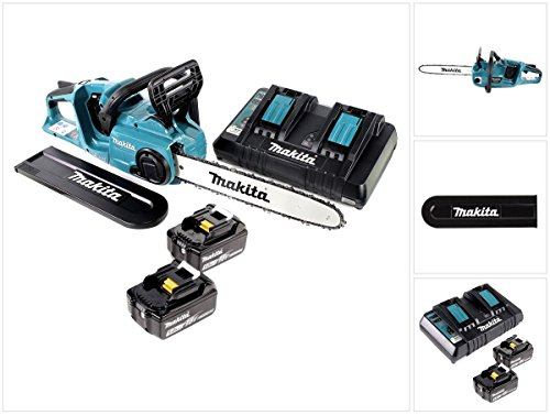Makita DUC 353 PT2 Akku Kettensäge 36V (2x18V) Brushless 35 cm + 2x 5,0 Ah Akku + Doppelladegerät