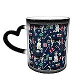 Lindo perro husky siberiano de Navidad que cambia la taza taza de café diseño de cerámica taza sensible al calor taza que...