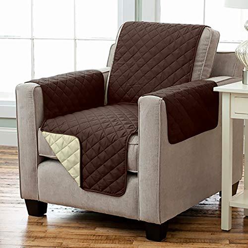 Kamaca Wende - Sesselschoner Sesselauflage Relax mit Armlehnen und Taschen Sessel Überwurf warm und weich zur Schonung der Polster Lehnenschutz zweiseitig verwendbar (BRAUN - BEIGE)
