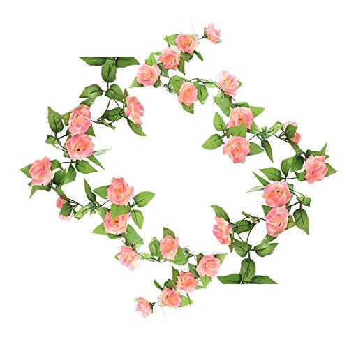 Künstliche Rosengirlande,Künstliche Rosen-Girlande,Simulation Hängende Dekoration Blumen und Blätter Dekor,Künstliche Blumen Pflanzen für Hotel,Hochzeit,Party,Garten,Kunst-Dekoration (2PCS,Rose Pink)