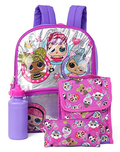 L.O.L. Surprise Backpack Lunch Kit Water Bottle Mega Set 5-Piece School Supplies Combo