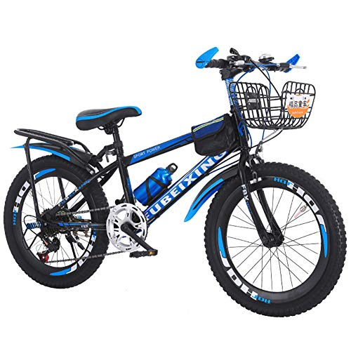 LINGYUN 18 20 22 Inch Children's Mountain Bike, Sports Outdoor Mountain Bike for Boys and Girls, Carbon Steel Frame and Professional Gear Shift Kit,Black,18in