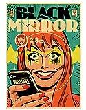 H/P Retro Classic Movie Black Mirror Poster Pintura Póster Retro Papel Kraft Home Bar Decoración De La Pared/Sticker Frameloos (15.7X 19.6Inch)