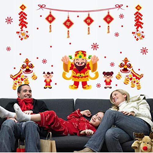 RONSHIN Lucky Baby Patroon Muursticker muurstickers voor Nieuwjaar Kerstmis Showcase raamdecoratie Huishoudelijke benodigdheden