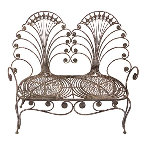 Design Toscano Grand Peacock Metal Garden Loveseat Bench