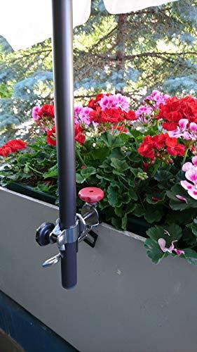 Holly Support de parasol universel - En acier inoxydable - Pivote à 360° pour bâtons jusqu'à 38 mm de diamètre - Fixation sur des balustrades rectangulaires jusqu'à 65 mm de diamètre.