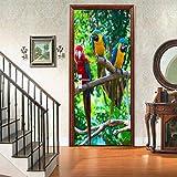 Etiqueta engomada de la puerta del loro 3Dcartel de puerta autoadhesivo, imagen de pared autoadhesiva DIY, papel tapiz impermeable de PVC-90cm(W)*200cm(H)