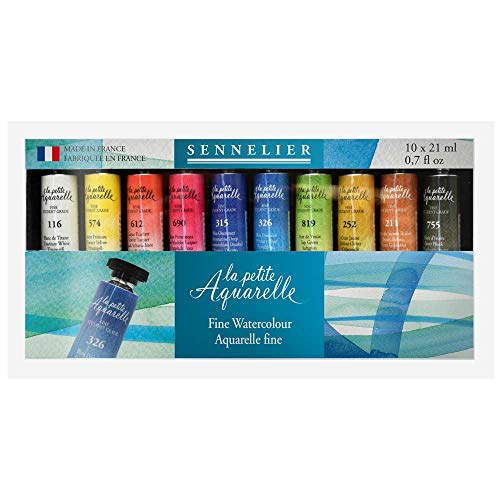 Sennelier La Petite Aquarelle Set, Student Watercolors, Includes Ten 21ml Tubes of Fine Artist Quality Watercolors (10-131684-00)