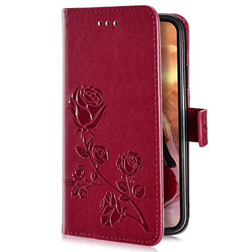 Uposao Kompatibel mit Huawei Mate 10 Lite Handyhülle Handytasche Rose Blumen Muster Leder Wallet Schutzhülle Brieftasche Hülle Klapphülle Brieftasche Tasche Flip Hülle Kartenfächer,Rot