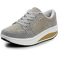 QZBAOSHU Adelgazar Cuña Zapatos Zapatillas para Mujer 2-Gris 38 EU/Etiqueta 39