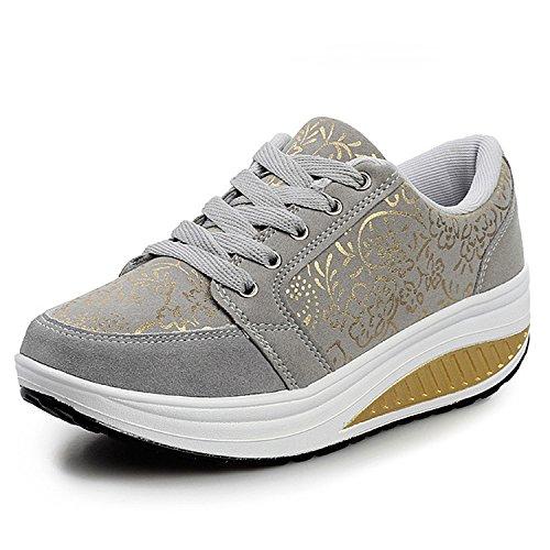 QZBAOSHU Damen Abnehmen Walkingschuhe Turnschuhe Fitness Keile Plattform Schuhe Sneakers(2 Grau,37)