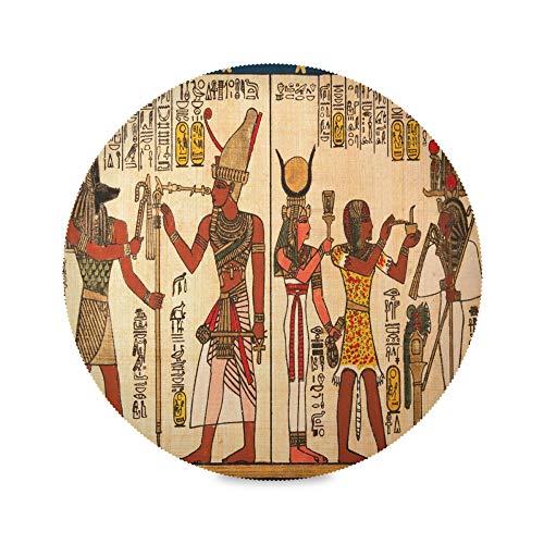 TropicalLife ADMustwin Set de table rond avec motif ethnique égyptien tribal Lot de 1 sets de table antidérapants lavables pour cuisine, salle à manger, restaurant