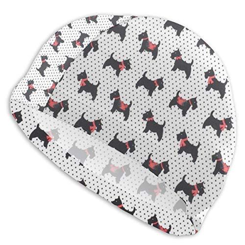 Hdadwy Gorro de baño Scottie Dog Blanco para Mujer Hombre Gorro de natación de Spandex de poliéster Duradero y Flexible para niñas Adolescentes
